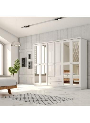 Zenio Zenio Myra 6 Kapak 2 Çekmece Aynalı Gardırop - Beyaz Renkli